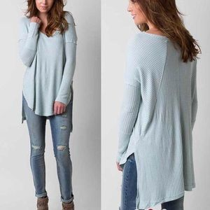 FREE PEOPLE Ventura High/Low Thermal Top Blue